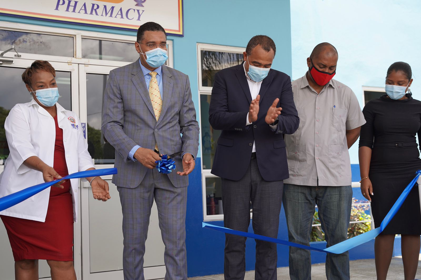 Caption: The Most Honourable Andrew Holness, Prime Minister of Jamaica and Dr. the Honourable Christopher Tufton, Minister of Health and Wellness officially opened the new Drug Serv Pharmacy at the Bustamante Hospital for Children on July 7, 2021.