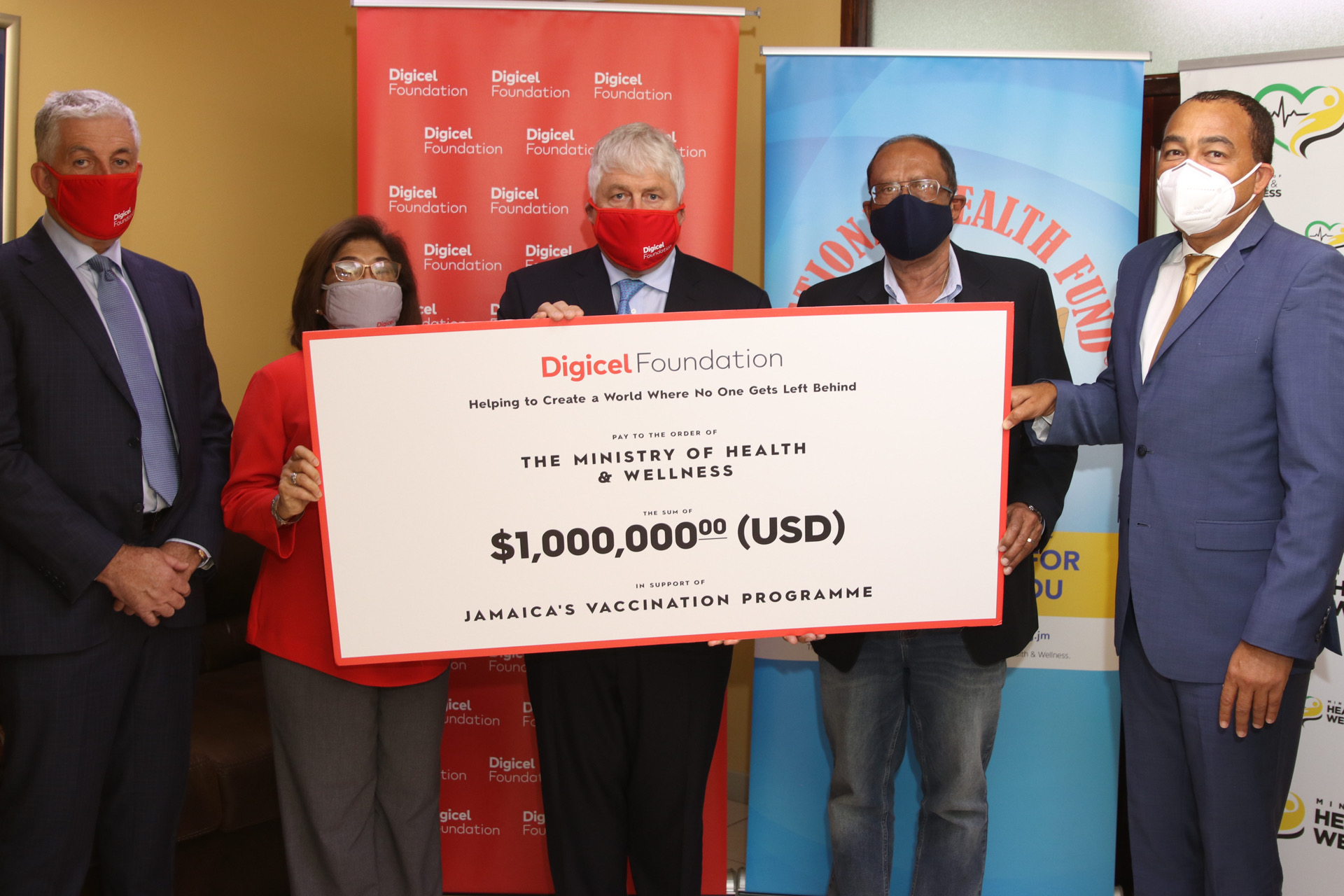 DIGICEL FOUNDATION DONATED US$1 MILLION TO THE NHF TO ASSIST IN THE PURCHASE OF VACCINES